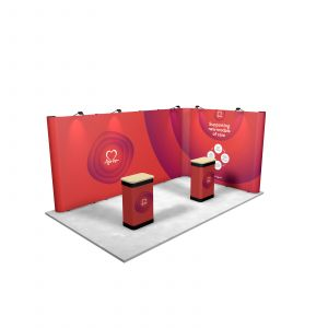 5M x 3M L Shaped Linked Exhibition Stand