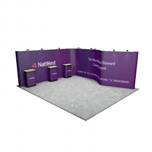5M x 6M L Shaped with a Curved Wall Exhibition Stand