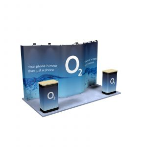 2M x 4M Curved Back Wall Pop Up Exhibition Stand