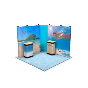 3M x 3M L Shaped Linked Exhibition Stand