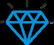 cartoon diamond in blue