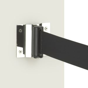 Retractable pedestrian barrier wall mounted receiving bracket