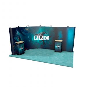 5M x 3M L Shaped Curved Wall Exhibition Stand