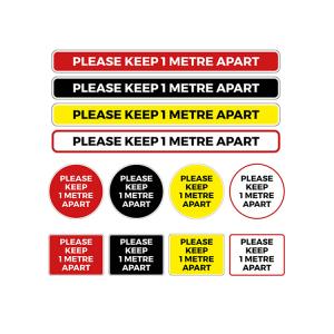 Social Distancing Coronavirus Floor Graphics and Stickers - Keep 1 Metre Apart
