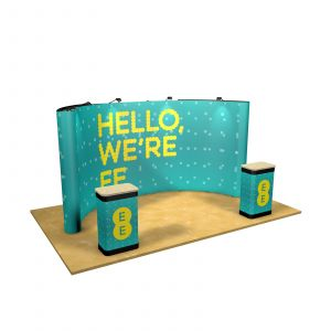 3M x 5M Double-Sided Curved Back Wall Exhibition Stand