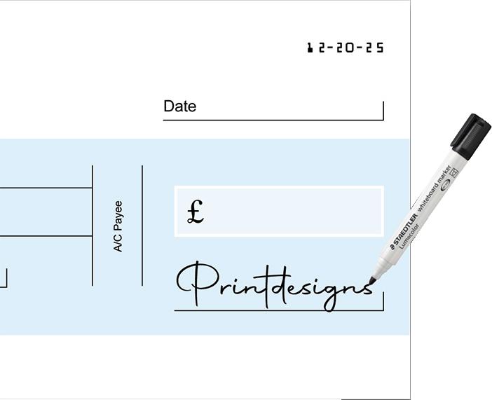 Reusable giant cheque
